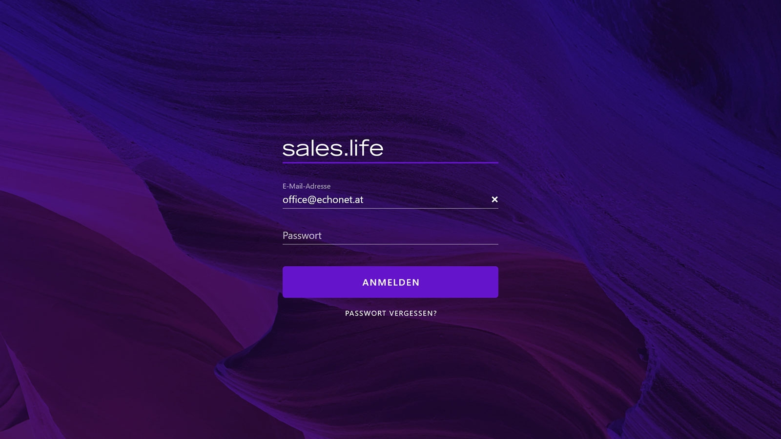 sales.life 1 | Back-End-Screen 01 Login © echonet communication